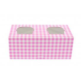 Krabička 2 Cukrářské se Stojanem 19,5x10x7,5cm Růžová (20 Kousky)