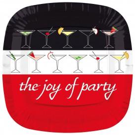 """Kartonové Talíře Čtvercový """" Joy of Party """" 230mm (8 Kousky)"""