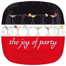 """Kartonové Talíře Čtvercový """" Joy of Party """" 230mm (200 Kousky)"""