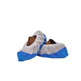 Návleky na Obuv z Netkané Textilie PP Bílý s Zesílená Podrážka CPE Modrý (50 Kousky)