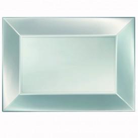 Podnos Plastový Stříbrný Pěkný Pearl PP 345x230mm (6 Kousky)