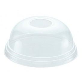 Plastové Víčko na Kelímek Vypouklé s Otvorem PET Krystal Ø8,1cm (100 Kousky)