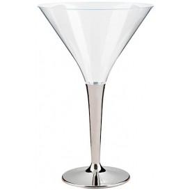 Plastové Sklenice na Koktejl s Černou Stříbrný 100 ml (6 Kousky)