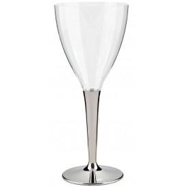 Plastové Sklenice na Víno s Černou Stříbrný 130ml (10 Kousky)