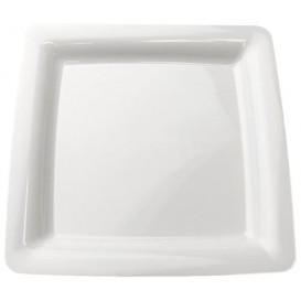 Plastové Talíř Čtvercový Extra Tuhý Bílý 18x18cm (200 Kousky)