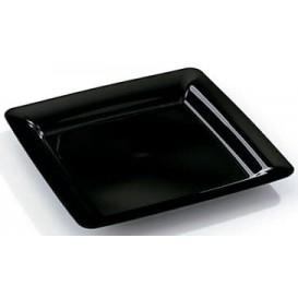 Plastové Talíř Čtvercový Extra Tuhý Černá 22,5x22,5cm (20 Kousky)