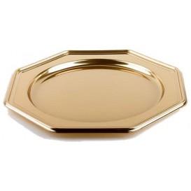 Plastový Podnos PET Osmiúhelníkový Zlato 30 cm (50 Kousky)