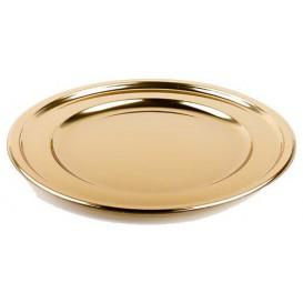 Plastový Podnos PET Kulatý Zlato 30 cm (50 Kousky)