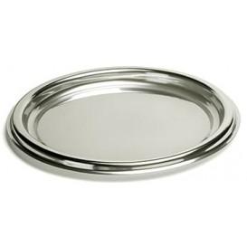 Kulatý Plastový Podnos Stříbrný 30 cm (5 Kousky)