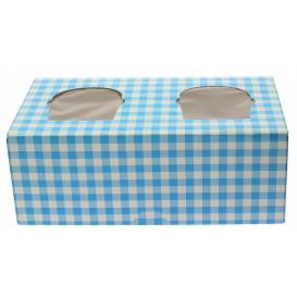 Krabička 2 Cukrářské se Stojanem 19,5x10x7,5cm Modrý (20 Kousky)