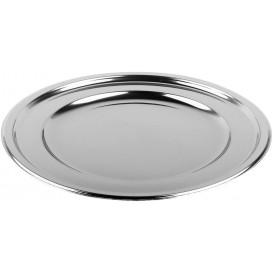 Plastový Podnos PET Kulatý Stříbrný 30 cm (50 Kousky)