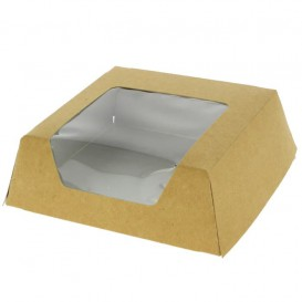 Krabička Karton Kraft s Okénkem 120x120x40mm (25 Kousky)