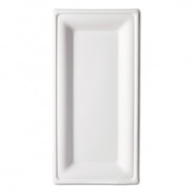 Podnos z Cukrové Třtiny Bagasové Bílý 25,5x12,7 cm (50 Kousky)