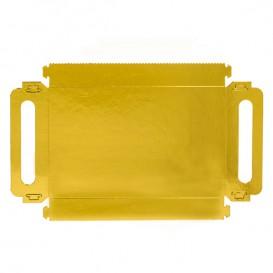 Papírové Podnos Obdélníkový Zlato s Plochým 16x23cm (100 Kousky)