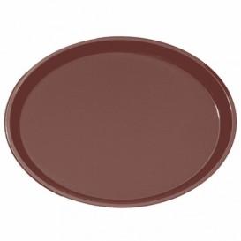 Podnos PP Oval Protiskluzový Hnědá 67,0x55,5cm (6 Kousky)
