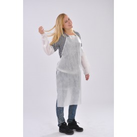Zástěry z Netkané Textilie PP Polyetylénové 60x84cm Bílý (10 Kousky)