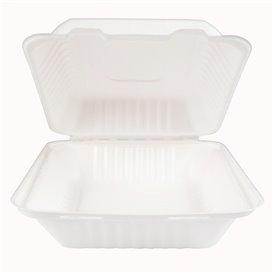Obaly s Víčkem z Cukrové Třtiny + PLA Bílý 20x20x7,5cm (50 Kousky)