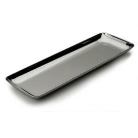 Podnos Plastový pro Ochutnávky Stříbrný 6x19 cm (200 Kousky)